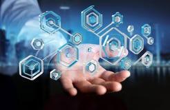 Biznesmen używa antivirus blokować cyber ataka 3D rendering Obraz Stock