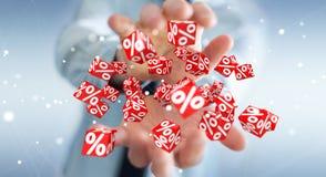 Biznesmen używa białe i czerwone sprzedaże lata ikon 3D rendering Zdjęcia Royalty Free