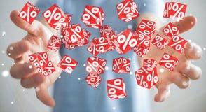 Biznesmen używa białe i czerwone sprzedaże lata ikon 3D rendering Obraz Royalty Free