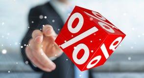 Biznesmen używa białe i czerwone sprzedaże lata ikon 3D rendering Zdjęcia Stock