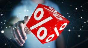Biznesmen używa białe i czerwone sprzedaże lata ikon 3D rendering Fotografia Royalty Free