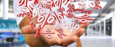 Biznesmen używa białe i czerwone sprzedaże lata ikon 3D rendering Fotografia Stock