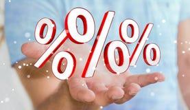 Biznesmen używa białe i czerwone sprzedaże lata ikon 3D rendering Zdjęcie Royalty Free