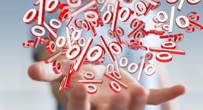 Biznesmen używa białe i czerwone sprzedaże lata ikon 3D rendering Zdjęcie Stock