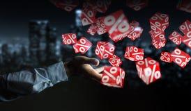 Biznesmen używa białe i czerwone sprzedaże lata ikon 3D rendering Obrazy Stock