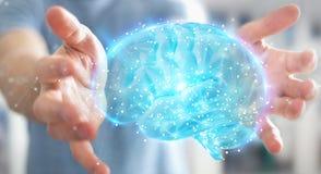 Biznesmen używa cyfrową 3D projekcję ludzki mózg 3D rend ilustracja wektor