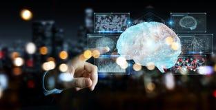 Biznesmen używa cyfrową 3D projekcję ludzki mózg 3D rend ilustracji