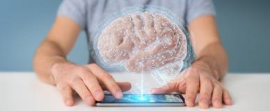 Biznesmen używa cyfrową 3D projekcję ludzki mózg 3D rend royalty ilustracja