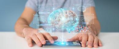 Biznesmen używa cyfrową 3D projekcję ludzkiego mózg 3D rendering ilustracji