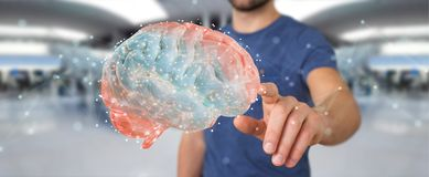 Biznesmen używa cyfrową 3D projekcję ludzkiego mózg 3D rendering royalty ilustracja