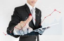 Biznesmen używa cyfrową pastylkę i wskazujący palec na wykresu diagramie Łama nawet punkt i finansuje c, biznesowy przyrost, inwe Zdjęcie Royalty Free