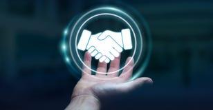 Biznesmen używa cyfrową prezentację dla partnerstwo biznesu Obraz Stock