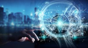 Biznesmen używa cyfrowego sztucznej inteligenci interfejs 3D r ilustracji