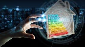 Biznesmen używa 3D renderingu oceny energetyczną mapę w drewnianym h Zdjęcia Stock