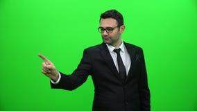 Biznesmen używa dotyka ekran Ręka dotyka gesty zbiory