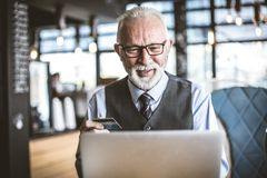 Biznesmen używa e bankowość zdjęcia stock