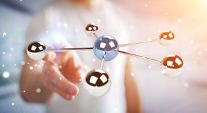 Biznesmen używa latający 3D sfer sieci 3D rendering Zdjęcia Royalty Free