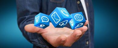 Biznesmen używa nowożytnego cyfrowego ikony zastosowanie Obraz Stock