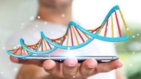 Biznesmen używa nowożytnego DNA struktury 3D rendering Zdjęcie Stock