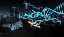 Biznesmen używa nowożytnego DNA struktury 3D rendering Zdjęcia Stock