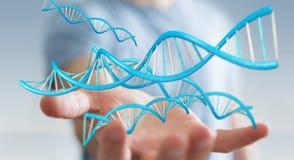 Biznesmen używa nowożytnego DNA struktury 3D rendering Zdjęcia Royalty Free