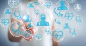 Biznesmen używa nowożytnego medycznego interfejsu 3D rendering Fotografia Royalty Free