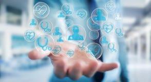 Biznesmen używa nowożytnego medycznego interfejsu 3D rendering Zdjęcie Royalty Free