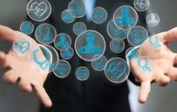 Biznesmen używa nowożytnego medycznego interfejsu 3D rendering Fotografia Stock