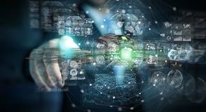 Biznesmen używa nowożytnego trutnia 3D rendering Fotografia Stock