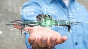 Biznesmen używa nowożytnego trutnia 3D rendering Zdjęcie Stock