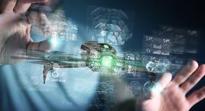 Biznesmen używa nowożytnego trutnia 3D rendering Obrazy Royalty Free