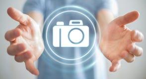 Biznesmen używa nowożytnej kamery podaniowego 3D rendering Obraz Stock