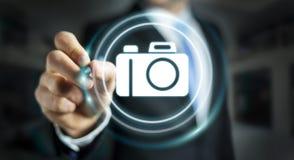 Biznesmen używa nowożytnej kamery podaniowego 3D rendering Fotografia Royalty Free