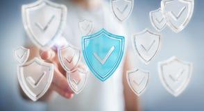 Biznesmen używa nowożytnych dane osłania antivirus 3D rendering Obrazy Royalty Free