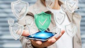 Biznesmen używa nowożytnych dane osłania antivirus 3D rendering ilustracji