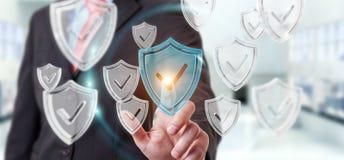 Biznesmen używa nowożytnych dane osłania antivirus 3D rendering royalty ilustracja