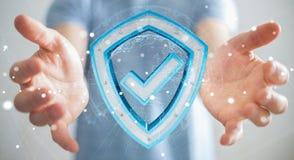 Biznesmen używa nowożytnych dane osłania antivirus 3D rendering Zdjęcia Royalty Free