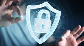 Biznesmen używa nowożytnych dane osłania antivirus 3D rendering Zdjęcie Royalty Free