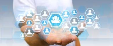 Biznesmen używa ogólnospołeczną sieć Obraz Stock