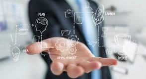 Biznesmen używa rękopiśmienną projekt prezentację z jego ręką ilustracji
