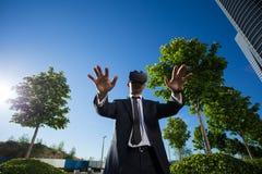 Biznesmen Używa rzeczywistość wirtualna szkła Fotografia Royalty Free