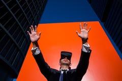 Biznesmen Używa rzeczywistość wirtualna szkła Fotografia Stock