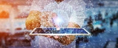Biznesmen używa sieć przesyłania danych Fotografia Royalty Free