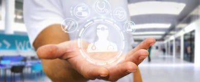 Biznesmen używa cyfrowego medycznego interfejsu 3D rendering Zdjęcia Stock