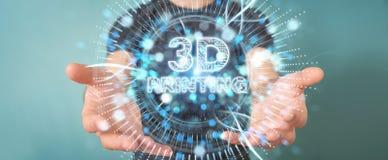 Biznesmen używa 3D drukuje cyfrowego holograma 3D rendering Fotografia Stock