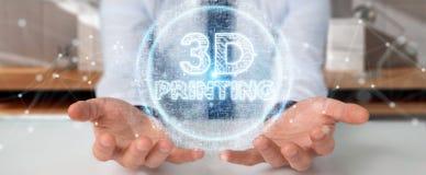 Biznesmen używa 3D drukuje cyfrowego holograma 3D rendering Obrazy Royalty Free