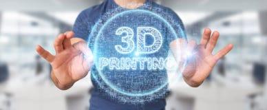 Biznesmen używa 3D drukuje cyfrowego holograma 3D rendering Obraz Royalty Free