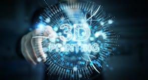 Biznesmen używa 3D drukuje cyfrowego holograma 3D rendering Zdjęcia Royalty Free