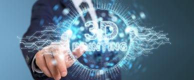 Biznesmen używa 3D drukuje cyfrowego holograma 3D rendering Ilustracja Wektor