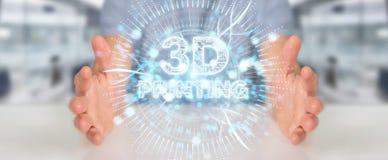Biznesmen używa 3D drukuje cyfrowego holograma 3D rendering Royalty Ilustracja